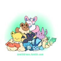 Pile of eevees by zambicandy