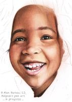 Black kid skin color with colored ballpoint pen by ArtisAllan