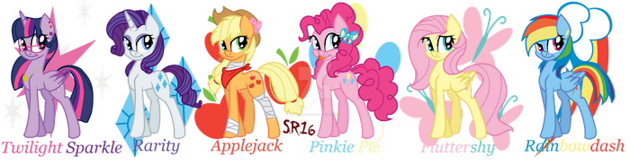 The Mane Six by SuperRosey16