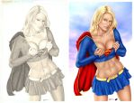 Comishart's Supergirl - Colors side by side by StacyRaven