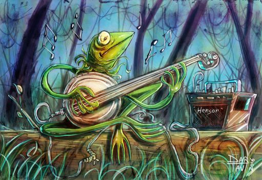 Kermit the Frog in the Swamp commission by Darhendartav