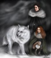 Jon Snow, Ygritte and Ghost by LauraMSS