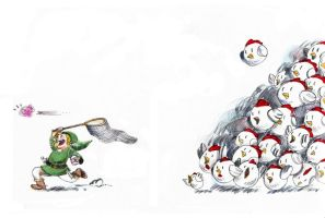 Cucco Attack by pixie-on-mushroom
