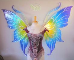 Fairy Marie's Custom Giant Rainbow Wings by FaeryAzarelle