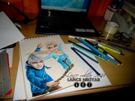 Queen Elsa and Jack Frost by lancelotmilitar