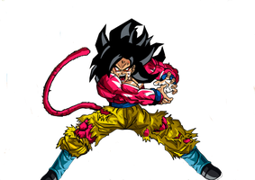 DRAGON BALL GOKU SSJ4 by momosexes