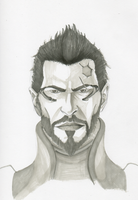 Adam Jensen marker sketch by HenkkaArt