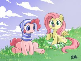 Fluttershy and Pinkie pie striped by shepherd0821