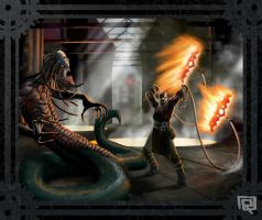 Steampunk God of War VS Medusa by Fuacka