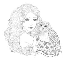 Girl and Owl Line Art by kt-chan