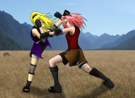 Sakura v.s. Ino by Phoenix-of-Uchiha
