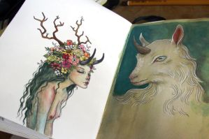 Sketchbook - flower girl and unicorn goat by aeryael