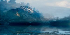 Fog Covered Lake And Mountains BG wide by scryer41