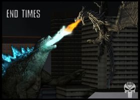 End Times: Godzilla vs Alduin by Blackcell8