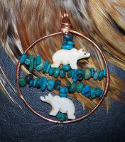 Turquoise and bone bear pendant by artefaccio