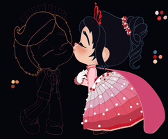 Vanellope and Rancis - Thanks for the Dances! WIP by artistsncoffeeshops