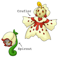 Fakemon - Spirout and Cruflor by Sliv-Pie