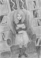 Hermione in the library by Dinahleit