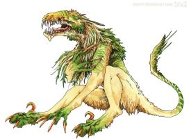 -of teeth and green-gold fur- by vinree