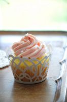 Strawberry Rosette Wedding Cupcakes by TantalizedBaker