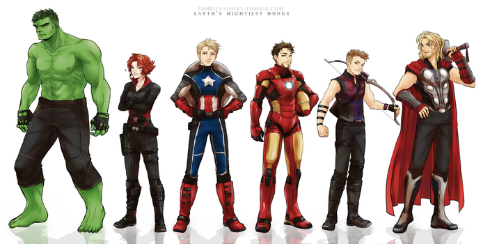 Earth's Mightiest Hunks by ZombieDaisuke