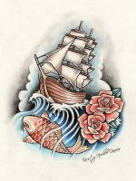 Pirate Ship, Rose and Koi Fish Tattoo Design by kirstynoelledavies