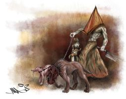 Even Pyramid head loves dogs by Lord-Khaneeda