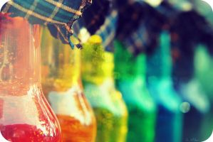 Rainbow Bottles VIII by Isika