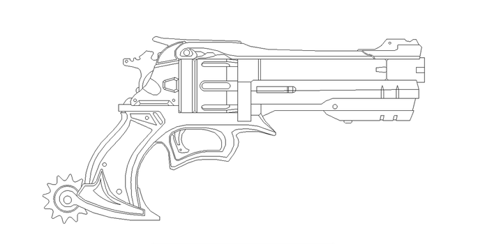 Mccree's  Gun Blueprint For Prop by netherpirate