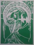 Mucha - Poetry Paper Cut by Lavinark
