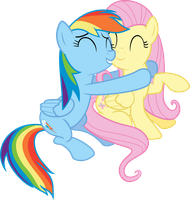 Rainbow Dash and Flutershy Hug Vector by Vulthuryol00