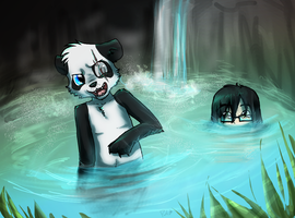 Panda And Nilesy In A Pool by Purrlstar