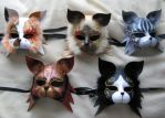 Five Carnival Cat Masks. by xothique