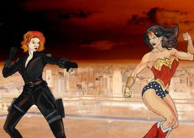 Black Widow vs Wonder Woman by thequeerzebra