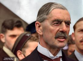Colorization: British Premier Neville Chamberlain by marinamaral