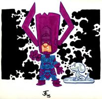 Li'l Galactus and Snoopy by jerrycarr