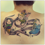 Tink, Mulan and Elsa Tattoo by cam-miyu