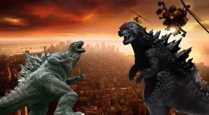 Battle of the CGI Godzilla!! by sonichedgehog2