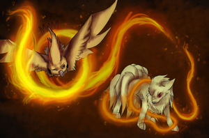 Day 7/8 - Ninetales and Pidgeot by Risketch