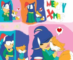 Tails and Sonic Xmas Kiss by CrazyCakesune