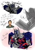 TF- AoE:  Optimus and Cade by yuminica