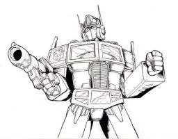 Optimus Prime line-art by Optimus8404