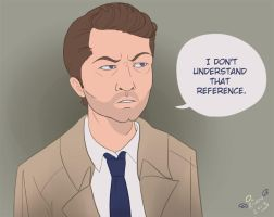 Confused Castiel by ladyriven