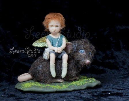 Fairy boy and mouse, ooak1 by ALBuslovich