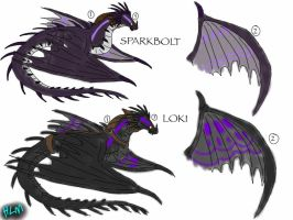 HTTYD: Skrill OC Comparisons-Sparbolt and Loki by BlackDragon-Studios