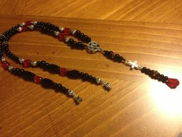 Satanic Rosary red black and silver baphomet LaVey by SigilofSulfer