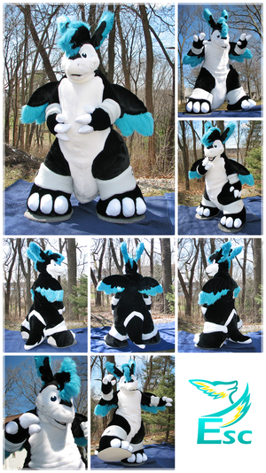 Rovanoak Black and White Dragon Fursuit (2016) by Eternalskyy