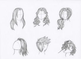 Pencil Sketches of Hair by Rozen-Guarde
