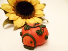 Tiny Pumpkin Fairy House by FlyingFrogCreations