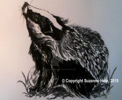 Inktober 2015: Day 6 - Badger by SuzanneHole